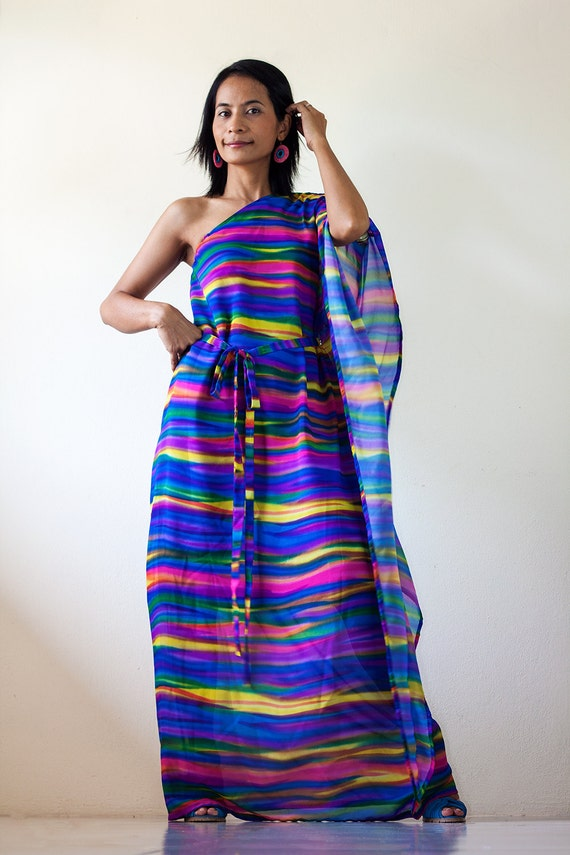 Best Price  from 89 USD now ONLY 65 USD -  Chiffon Dress - One shoulder Maxi Dress :  Funky Chiffon Collection  (Size  M)