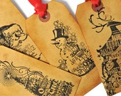 READY TO SHIP | Christmas Gift Tags vintage inspired. 8 Large coffee stained tags Snowman, Santa, Christmas tree, Reindeer gift topper