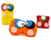 3 Mini monster dolls . Christmas children's gift . stocking filler . cute party favors . kids charm . pocket pal . cuddly toy . tiny