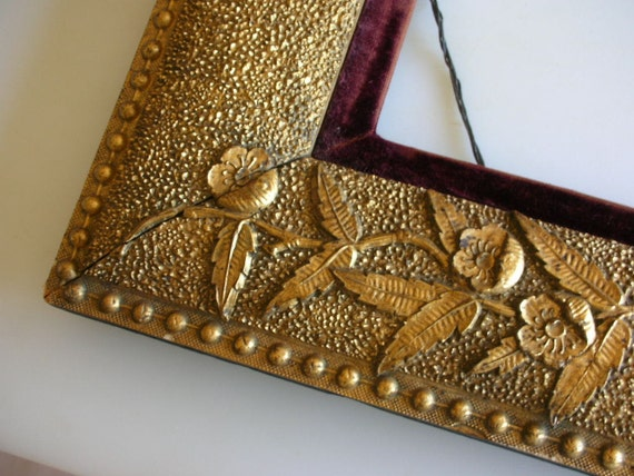 "Large Antique Gold Gesso Frame Ornate Floral Motif 17 x 19  GORGEOUS 17"" x 19"" Treasury Item  from The Back Part of the Basement"