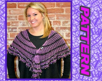 This is a PDF KNITTING PATTERN... for Lace Shawl with sequin edging, elegant, beautiful, Easy Lace Shawl Pattern