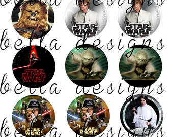 """INSTANT DOWNLOAD Star Wars JPEG 4x6 Bottle Cap Image Sheet 1"""" circles. Hairbows, jewelry, scrapbooking,cupcake toppers"""