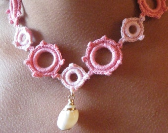 Coral Crocheted Choker with shell