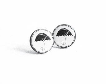 Umbrella earrings studs monochrome jewelry minimalist post earrings black white