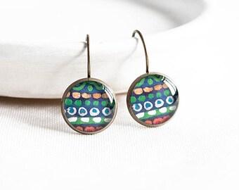 Green earrings leverback, bohemian jewelry, tribal earrings, picture earrings