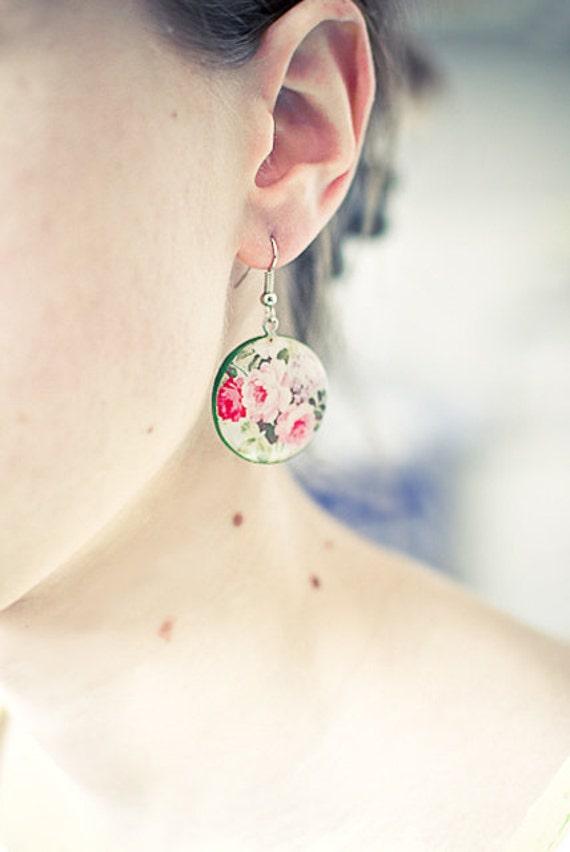 Flowers earrings, garden jewelry, floral spring earrings