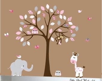 Giraffe, elephant, monkey tree jungle wall decal nursery wall sticker