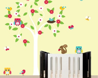 Nursery Vinyl Wall Decal  Tree Swirl Flower Tree Children Wall Decal with Owls and Birds Baby Swirl Tree