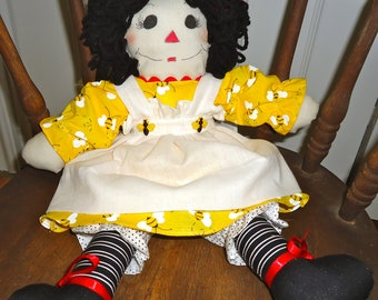 "I'm ready to ""Bee"" your new best friend....I'm a handmade rag doll that just loves to be hugged :)"