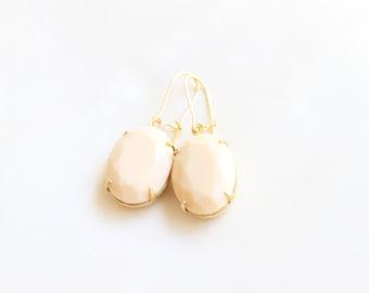 Large Vintage Faceted Beige Glass Cabochon Drop Earrings, Set Stone Earrings, Bezel Earrings, Colored Stone Earrings