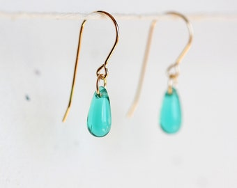 Tiny Teal Glass Drop Earrings - teal green teardrop earrings