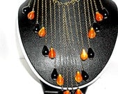 Handmade Necklace Bib, 18in  Antique Bronze 3mm Link Chain, Black & Orange Vintage Lucite Teardrop Beads NWOT