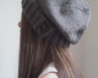 Knit slouchy hat with button/s - TAUPE - brown grayish color -  (more colors available - made to order)