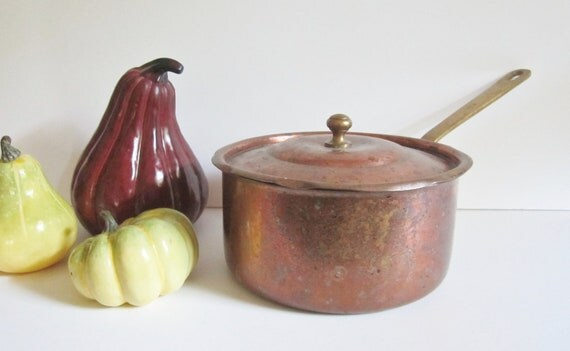 Vintage Copper Sauce Pot with Lid - French Country Farmhouse