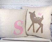 Deer/fawn & butterfly, monogram burlap pillows - set of 2 - perfect for a rustic woodland nursery