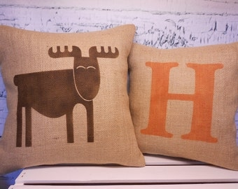 Child's elk/moose pillow and monogram initial pillow - burlap pillow covers - set of 2 - rustic nursery - Pillow Inserts Sold Separately
