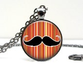 Mustache Necklace - Retro Necklace - Vintage Jewelry - Costume Jewelry - Red - Old School - Funny Gifts for Friends - Handmade Gifts