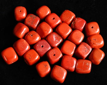 26 Pieces of Drilled, Square, Rough-Cut, Tumbled Red Jasper, Approx 10-12mm