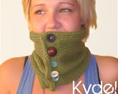 Cowl Button Up Neckwarmer Hand Knit Green, Blue Womens Winter Accessories Spring Fashion Neck Warmer