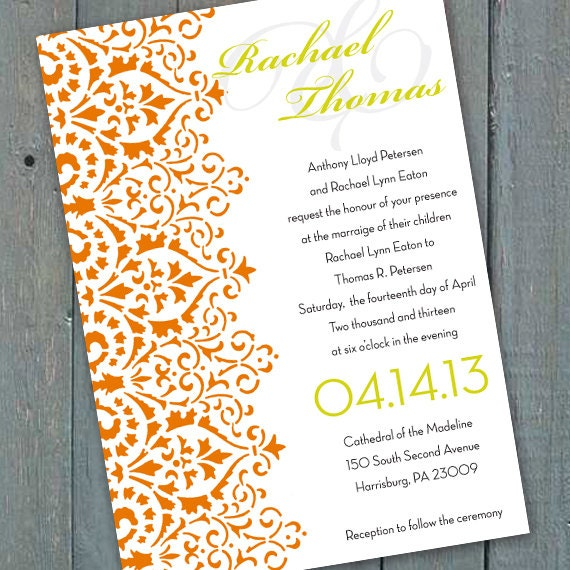 wedding invitations, tangerine and lime wedding invitations, orange bachelorette party invitations, orange bridal shower invitations, IN164