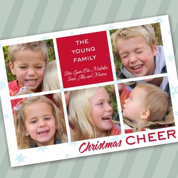 Christmas cards, Christmas cheer photo card, block photo Christmas card, 6 photos holiday card, snowflake Christmas card, CC014