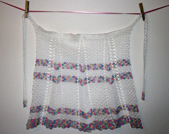 Apron, Crocheted by Hand, Vintage Accessory