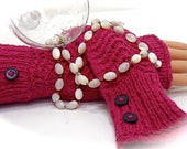 Fingerless Gloves Red Burgundy Wine Black buttons lace Stretch Cotton