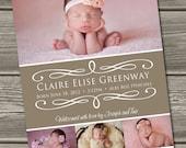 Baby Girl Birth Announcement (Digital File) Delilah - I Design, You Print