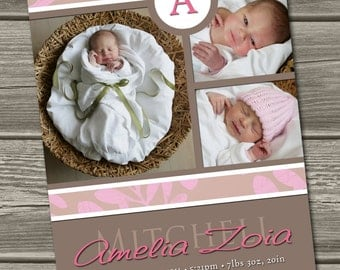 Baby Girl Birth Announcement (Digital File) Alita - I Design, You Print