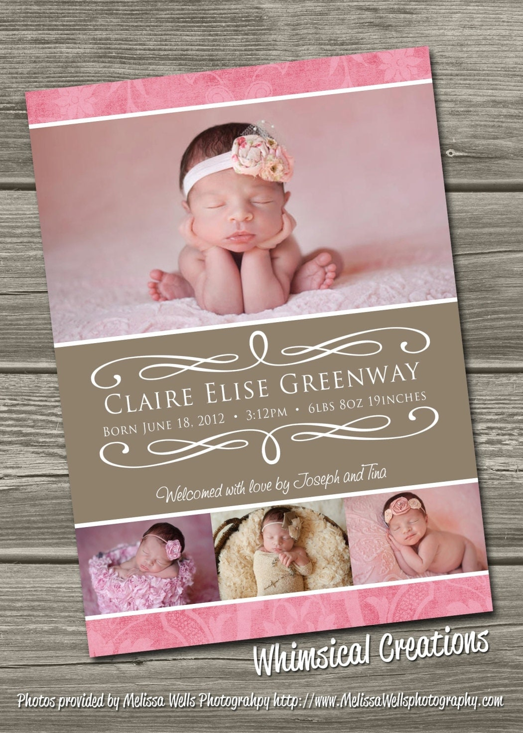 baby girl birth announcement digital file delilah i