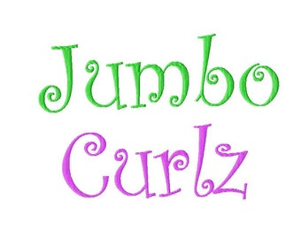 "JUMBO Curlz Machine Embroidery Font - Sizes 5"",6"",7"" BUY 2 get 1 FREE"