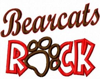 Bearcats ROCK - Paw Print - Applique - Machine Embroidery Design - 7 sizes