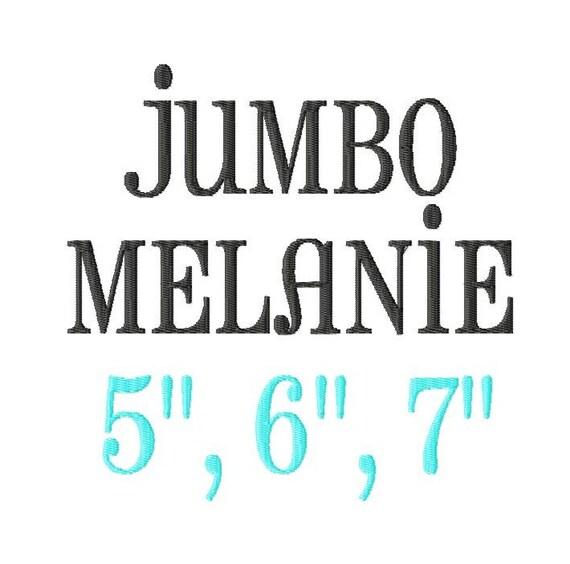 JUMBO Melanie Machine Embroidery Font Sizes