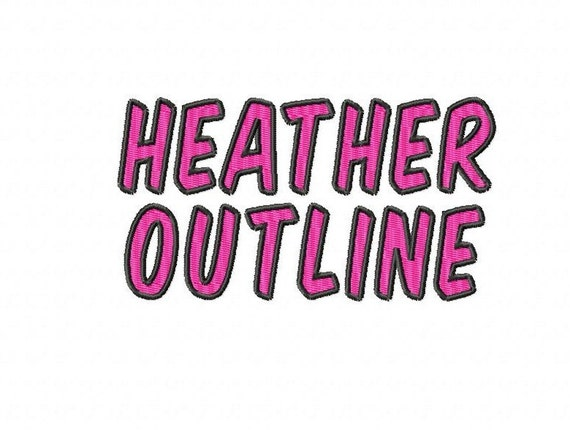"""Heather Outline - Machine Embroidery Font - Sizes 1"""",2"""",3"""",4"""" - BUY 2 get 1 FREE"""