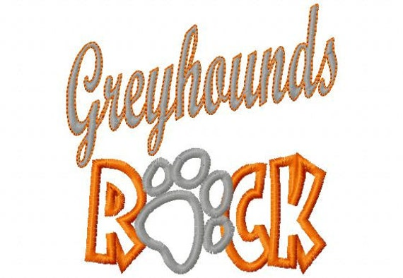 Greyhounds ROCK - Paw Print - Applique - Machine Embroidery Design -  8 sizes