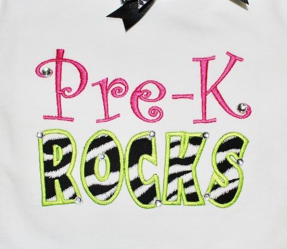 Pre-K ROCKS - Applique - Machine Embroidery Design -  6 sizes