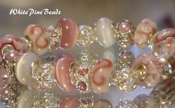 European Style Charm Bracelet  Pink and White Clouds by WhitePineBeads