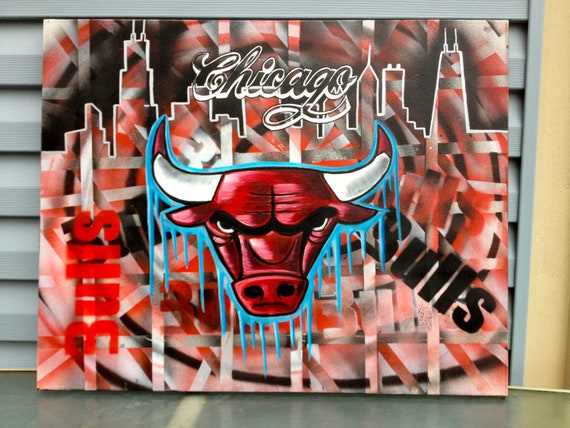 Items similar to Chicago Bulls ORIGINAL hand painted canvas on Etsy