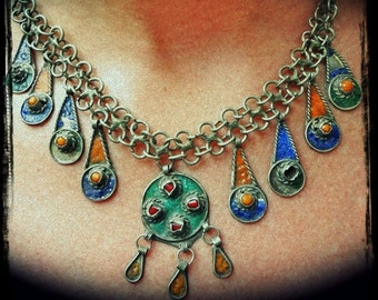 Antique Tribal Moroccan Renaissance Necklace RARE Silver Bib Necklace