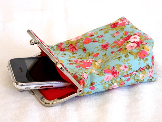 IPhone 5 Case / Cigarette Case - 5, 4, 4S, 3GS, Large Cell Phone - Mint Green with Red Flowers 100% cotton - Silver Frame