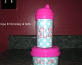 Personalized 10oz Sippy Cup and Snack bowl.You choose your initial, name or monogram