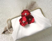 Pleated Pale Ivory Clutch Purse with Red Flower Adornments