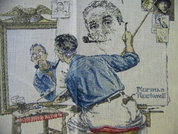 Norman Rockwell Tapestry Panel Block 'TRIPLE SELF-PORTRAIT''