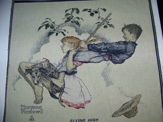 Norman Rockwell Tapestry Panel Block 'FLYING HIGH''