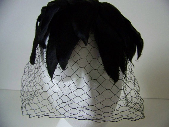 Vintage 1950s Womens Black Birdcage Hat with Veil and Vintage Hat Pin by Clover Lane - Cocktail Party - Funeral - Halloween Costume
