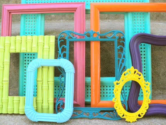 Bright and Colorful Picture Frame Set Ornate
