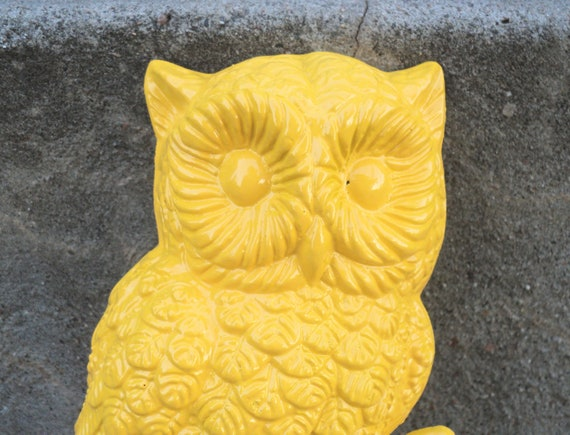 Sunny Yellow Owl Wall Hanging Vintage