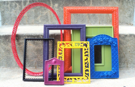 Colorful Picture Frame Set Ornate Skittles Collection