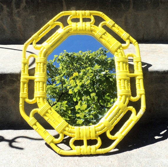 Reserved for Leah Lemon Yellow Bamboo Wall Mirror