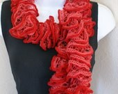 Ruffle lace soft red scarf hand knitting